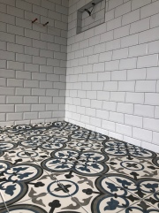 Ceramic white metro wall tile and porcelain encaustic style wet floor tile